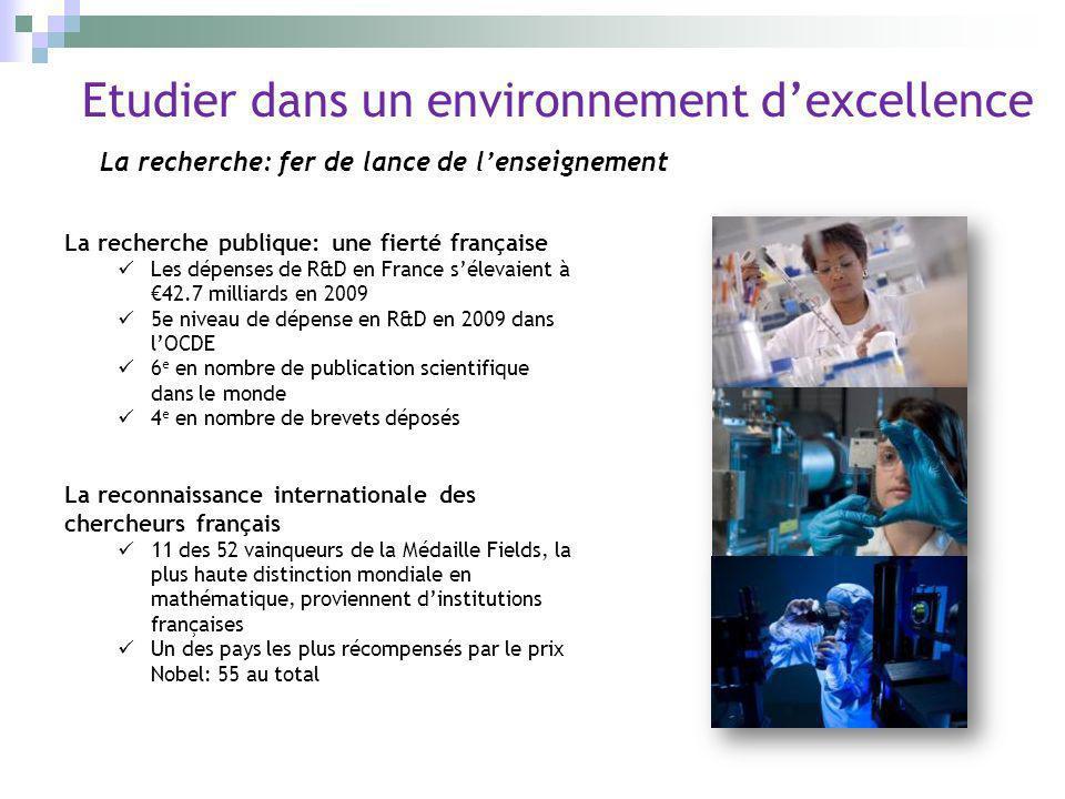 Etudier dans un environnement dexcellence La recherche: fer de lance de lenseignement La recherche publique: une fierté française Les dépenses de R&D