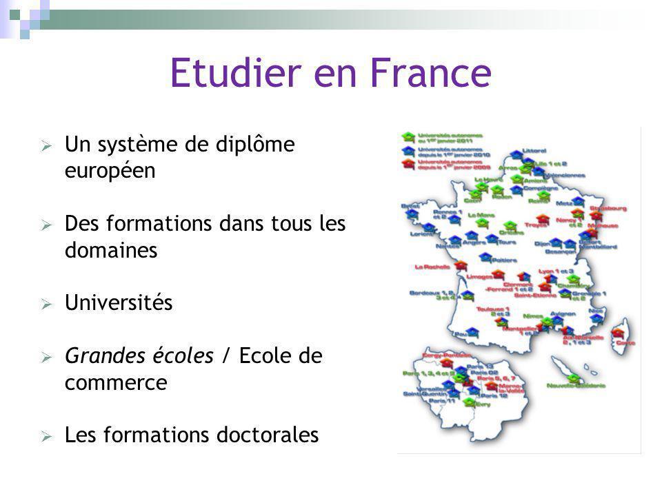 Etudier en France Un système de diplôme européen Des formations dans tous les domaines Universités Grandes écoles / Ecole de commerce Les formations d