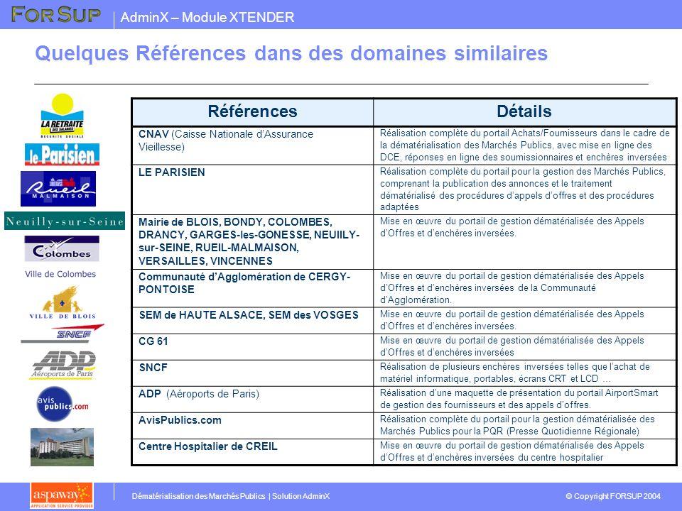 AdminX – Module XTENDER © Copyright FORSUP 2004 Dématérialisation des Marchés Publics | Solution AdminX Quelques Références dans des domaines similair