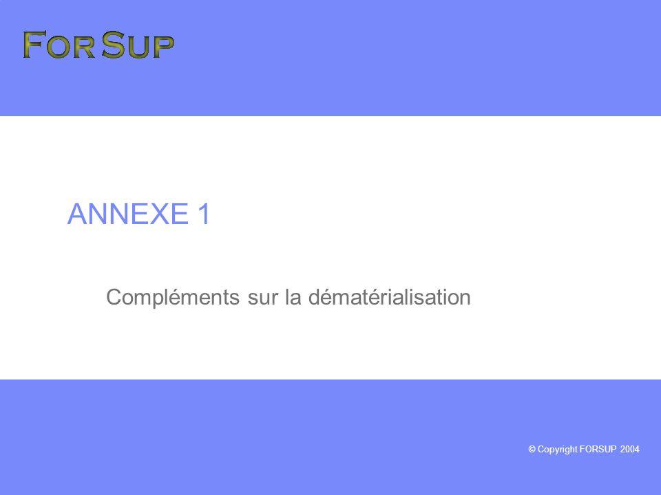 © Copyright FORSUP 2004 ANNEXE 1 Compléments sur la dématérialisation
