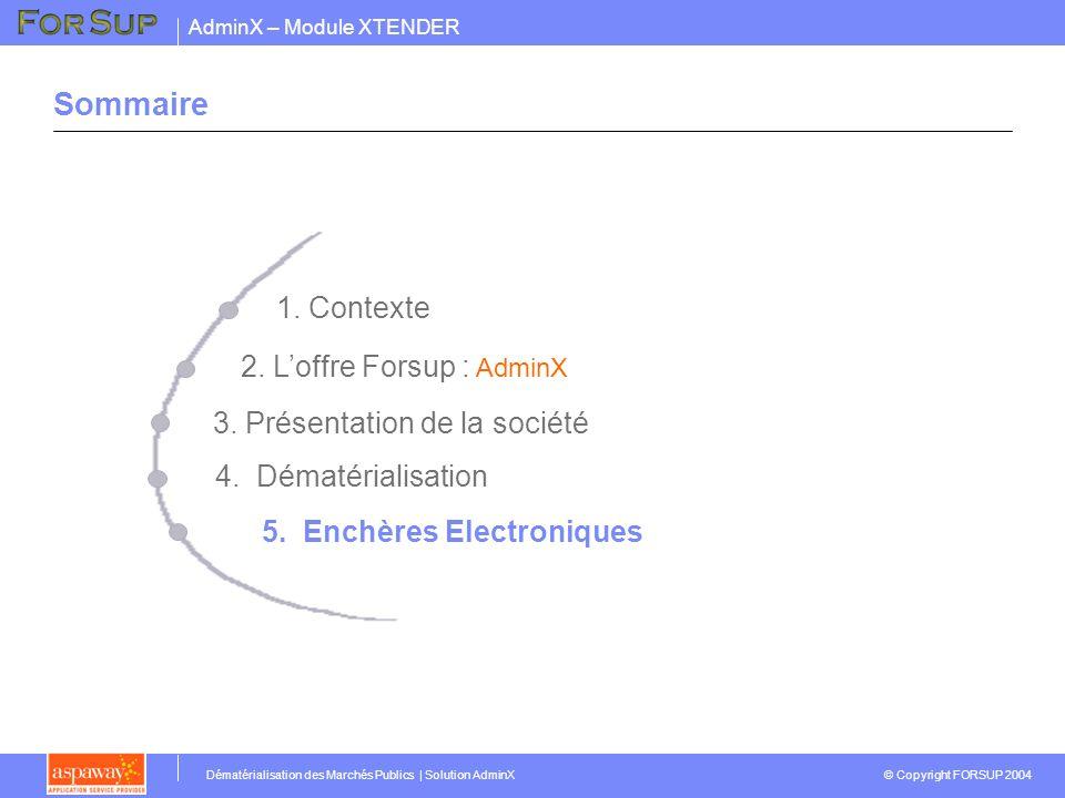 AdminX – Module XTENDER © Copyright FORSUP 2004 Dématérialisation des Marchés Publics | Solution AdminX Sommaire 2. Loffre Forsup : AdminX 3. Présenta
