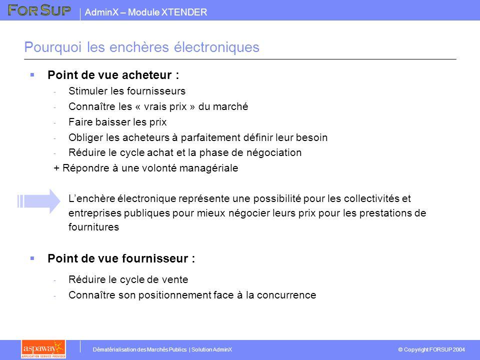 AdminX – Module XTENDER © Copyright FORSUP 2004 Dématérialisation des Marchés Publics | Solution AdminX Pourquoi les enchères électroniques Point de v