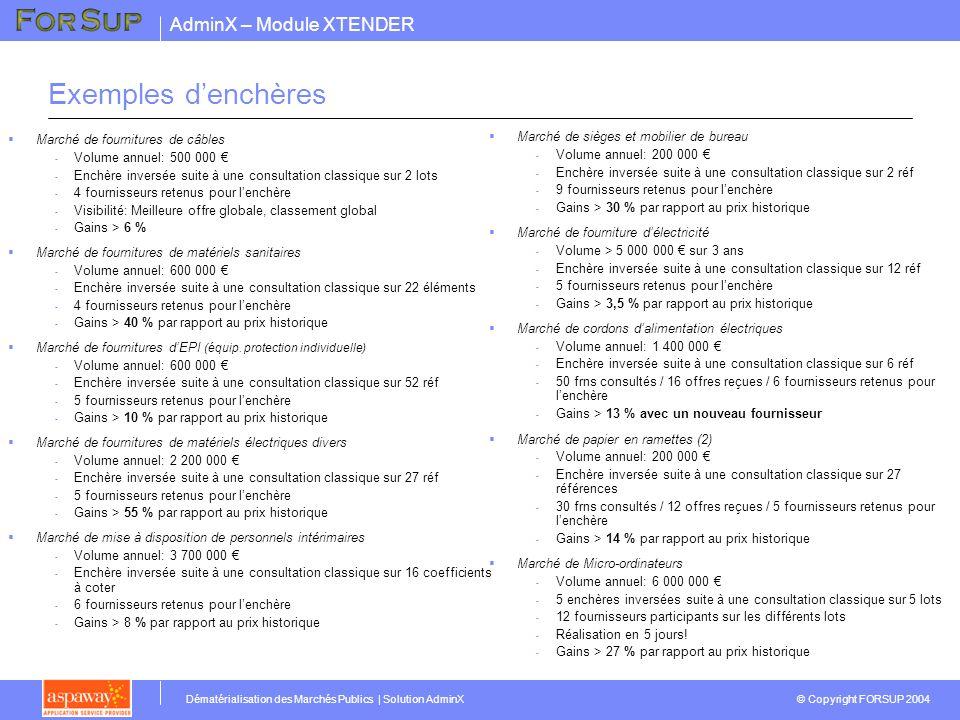 AdminX – Module XTENDER © Copyright FORSUP 2004 Dématérialisation des Marchés Publics | Solution AdminX Exemples denchères Marché de fournitures de câ