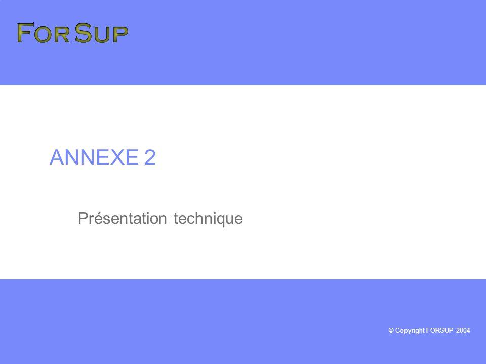© Copyright FORSUP 2004 ANNEXE 2 Présentation technique