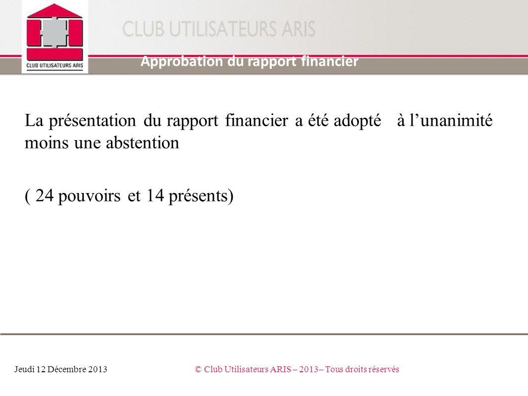 La présentation du rapport financier a été adopté à lunanimité moins une abstention ( 24 pouvoirs et 14 présents) Approbation du rapport financier Jeu