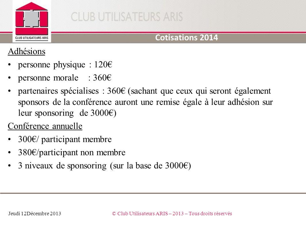 Adhésions personne physique : 120 personne morale : 360 partenaires spécialises : 360 (sachant que ceux qui seront également sponsors de la conférence
