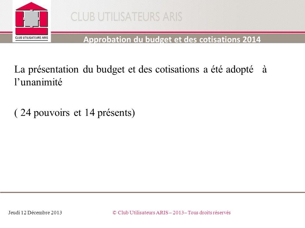 La présentation du budget et des cotisations a été adopté à lunanimité ( 24 pouvoirs et 14 présents) Approbation du budget et des cotisations 2014 Jeu