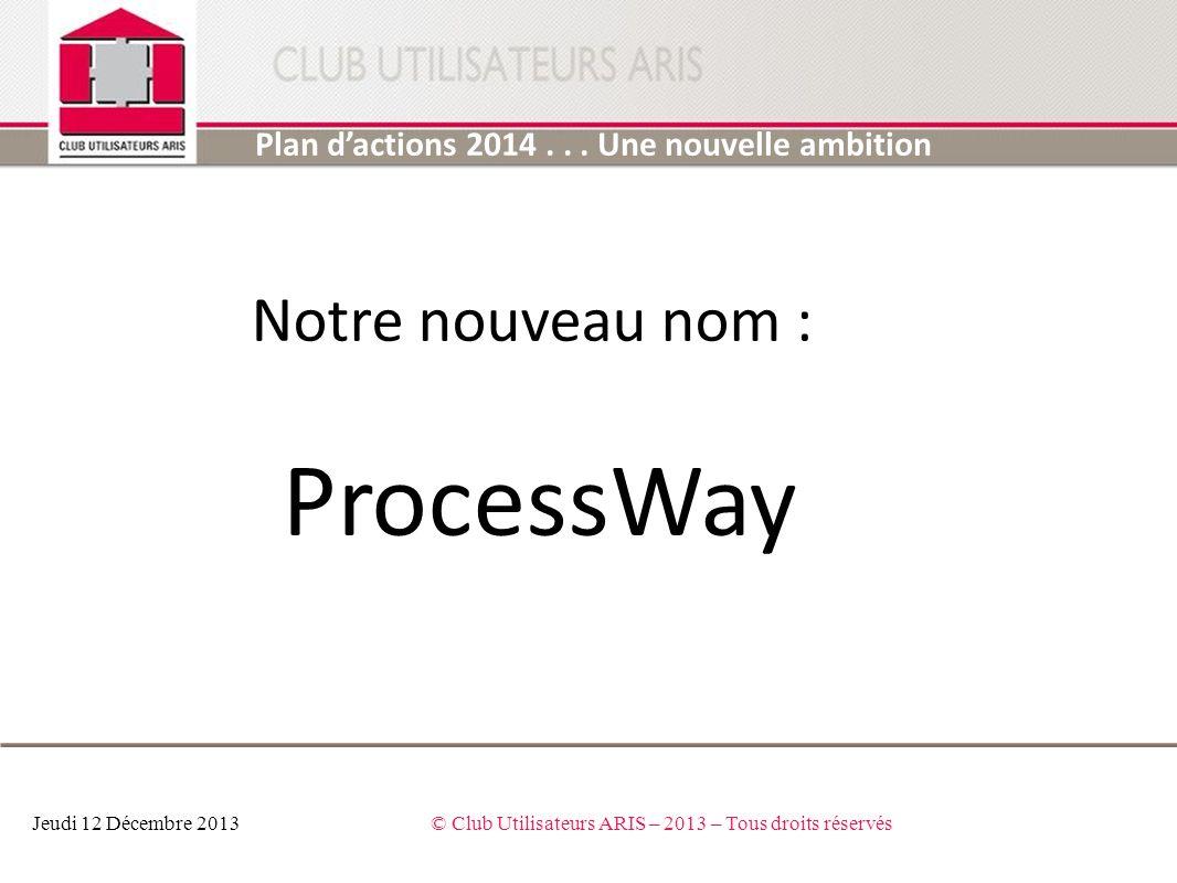 Plan dactions 2014... Une nouvelle ambition ambition Jeudi 12 Décembre 2013© Club Utilisateurs ARIS – 2013 – Tous droits réservés Notre nouveau nom :