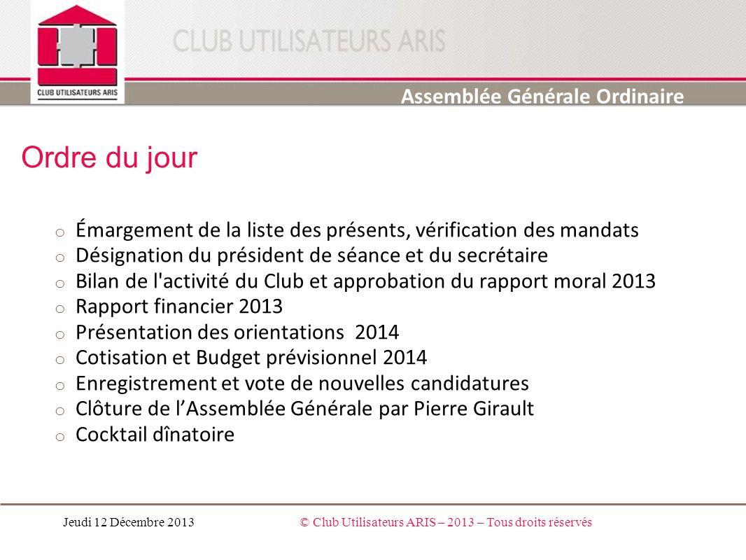 Rapport Moral 2013 Pierre GIRAULT Assemblée Générale Ordinaire Jeudi 12 Décembre 2013© Club Utilisateurs ARIS – 2013 – Tous droits réservés