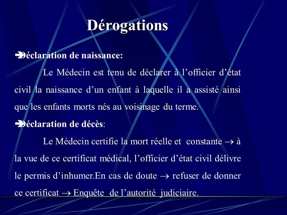 Dérogations Déclaration de naissance: Le Médecin est tenu de déclarer à lofficier détat civil la naissance dun enfant à laquelle il a assisté ainsi que les enfants morts nés au voisinage du terme.