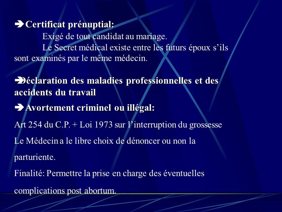 Certificat prénuptial: Certificat prénuptial: Exigé de tout candidat au mariage.