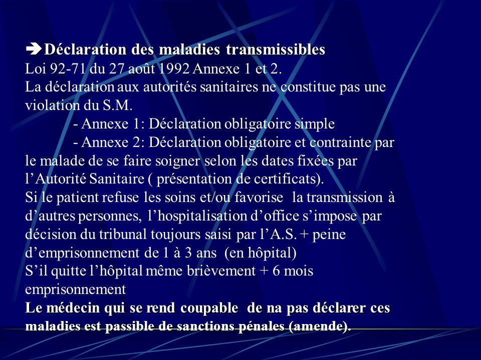 Déclaration des maladies transmissibles Déclaration des maladies transmissibles Loi 92-71 du 27 août 1992 Annexe 1 et 2.