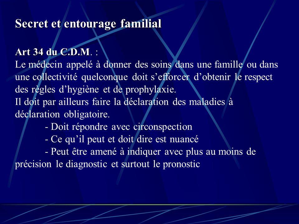 Secret et entourage familial Art 34 du C.D.M Art 34 du C.D.M.