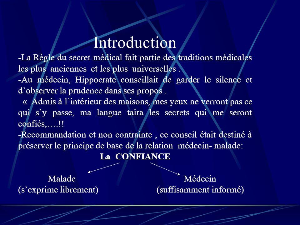 Introduction -La Règle du secret médical fait partie des traditions médicales les plus anciennes et les plus universelles.