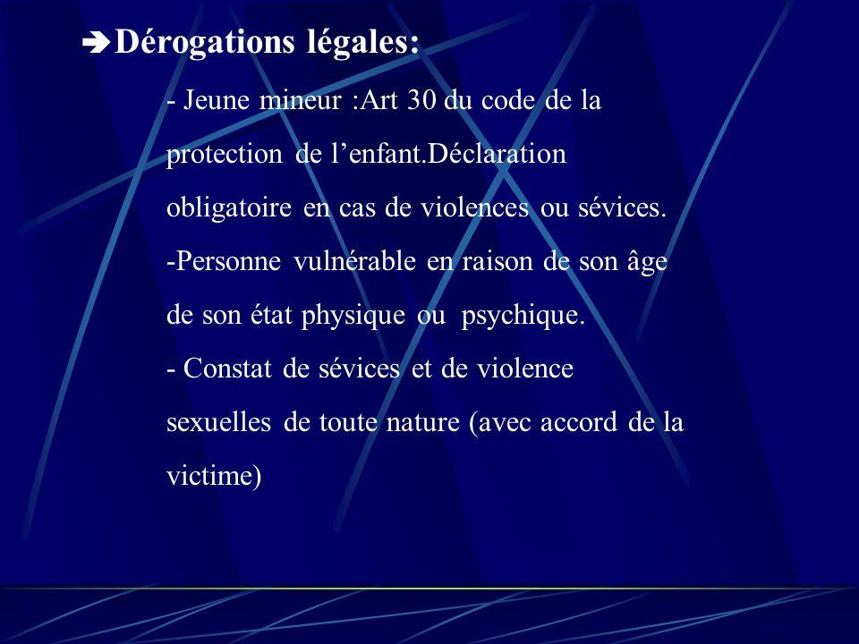 Dérogations légales: - Jeune mineur :Art 30 du code de la protection de lenfant.Déclaration obligatoire en cas de violences ou sévices.