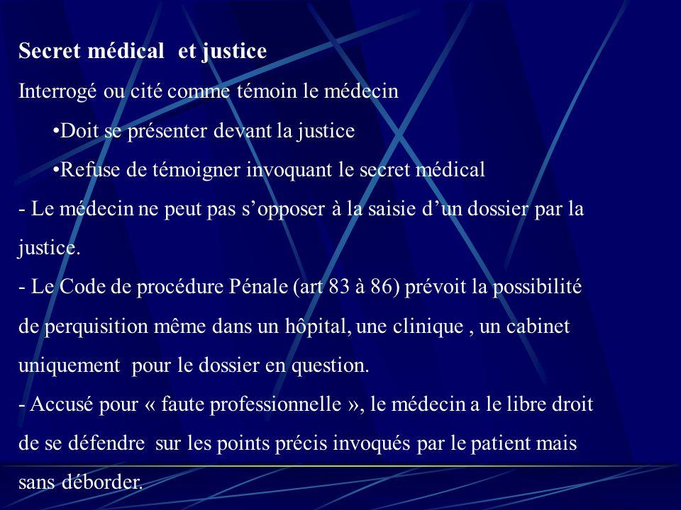 Secret médical et justice Interrogé ou cité comme témoin le médecin Doit se présenter devant la justice Refuse de témoigner invoquant le secret médical - Le médecin ne peut pas sopposer à la saisie dun dossier par la justice.