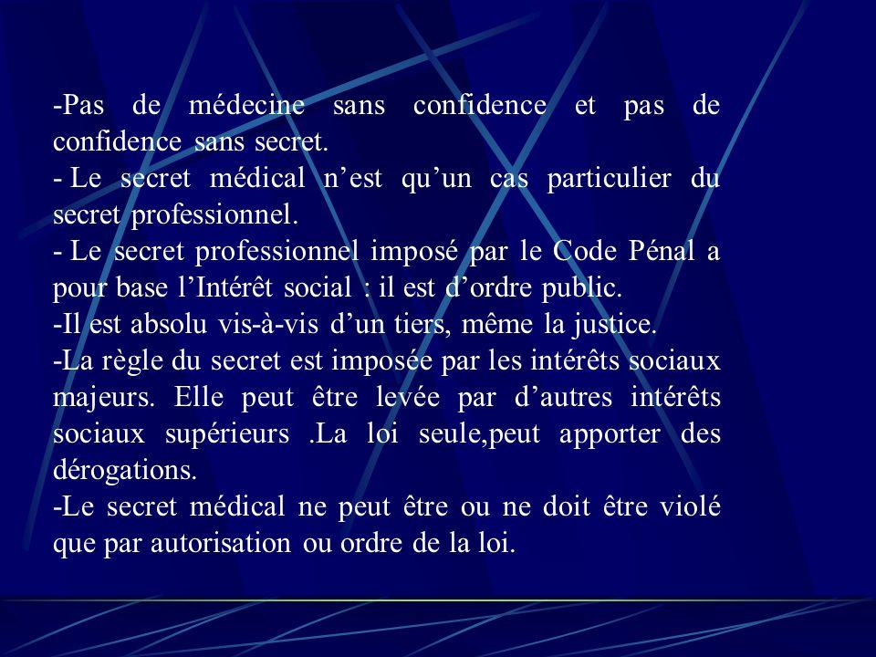 -Pas de médecine sans confidence et pas de confidence sans secret.
