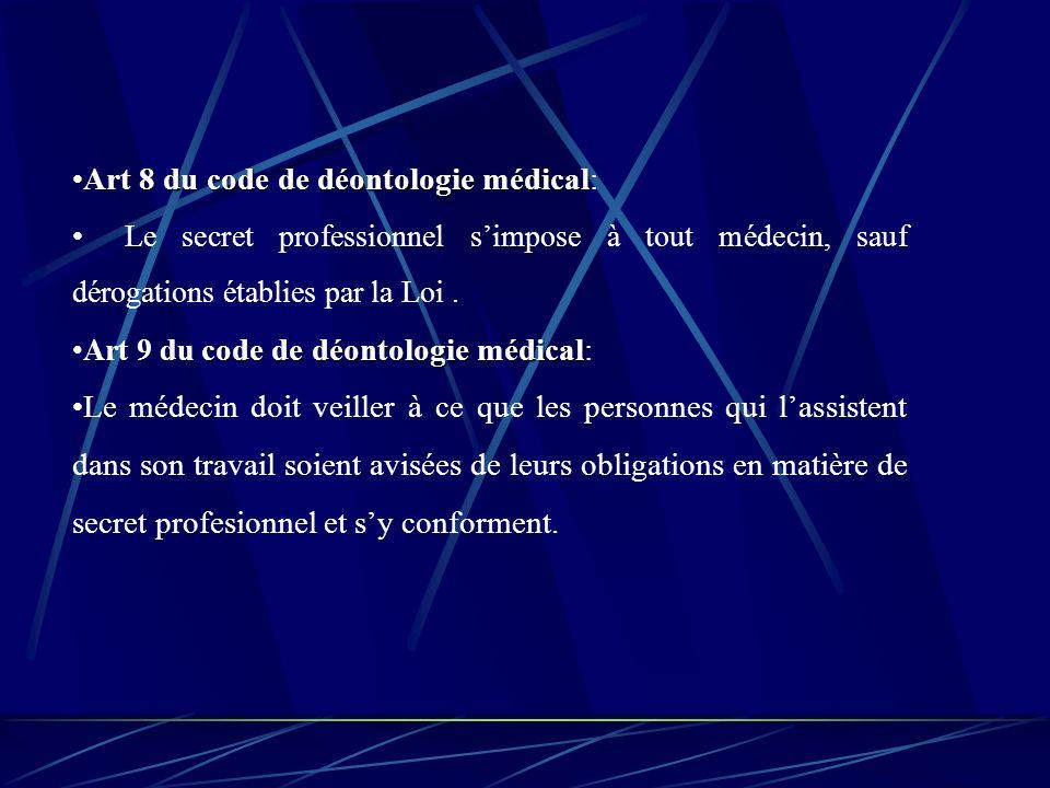 Art 8 du code de déontologie médicalArt 8 du code de déontologie médical: Le secret professionnel simpose à tout médecin, sauf dérogations établies par la Loi.