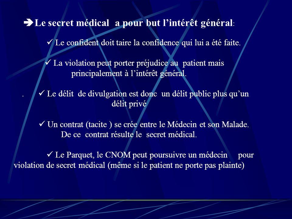 Le secret médical a pour but lintérêt général : Le confident doit taire la confidence qui lui a été faite.