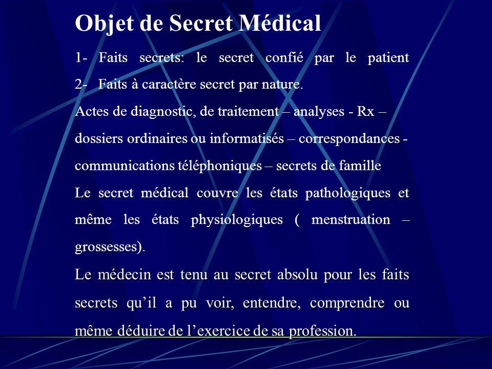 Conclusion Fondements du secret médical Fondement dordre public : Le médecin du fait de sa profession devient un confident nécessaire.