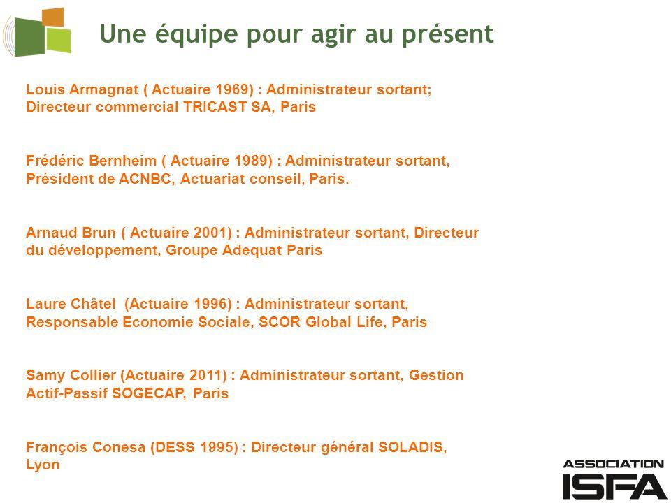 Une équipe pour agir au présent Louis Armagnat ( Actuaire 1969) : Administrateur sortant; Directeur commercial TRICAST SA, Paris Frédéric Bernheim ( Actuaire 1989) : Administrateur sortant, Président de ACNBC, Actuariat conseil, Paris.