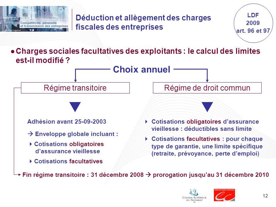 12 Choix annuel Régime transitoire Déduction et allègement des charges fiscales des entreprises Charges sociales facultatives des exploitants : le calcul des limites est-il modifié .