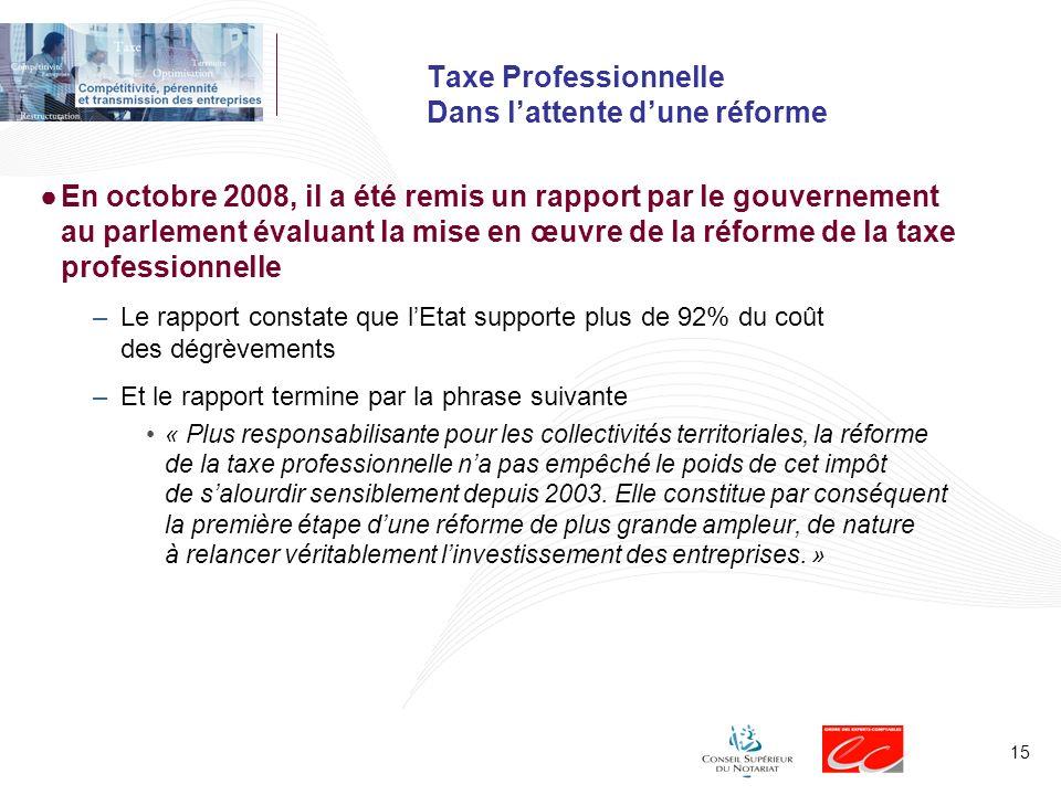 15 Taxe Professionnelle Dans lattente dune réforme En octobre 2008, il a été remis un rapport par le gouvernement au parlement évaluant la mise en œuv