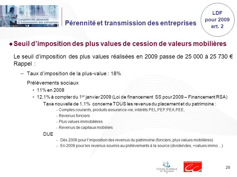 29 Pérennité et transmission des entreprises Seuil dimposition des plus values de cession de valeurs mobilières Le seuil dimposition des plus values r