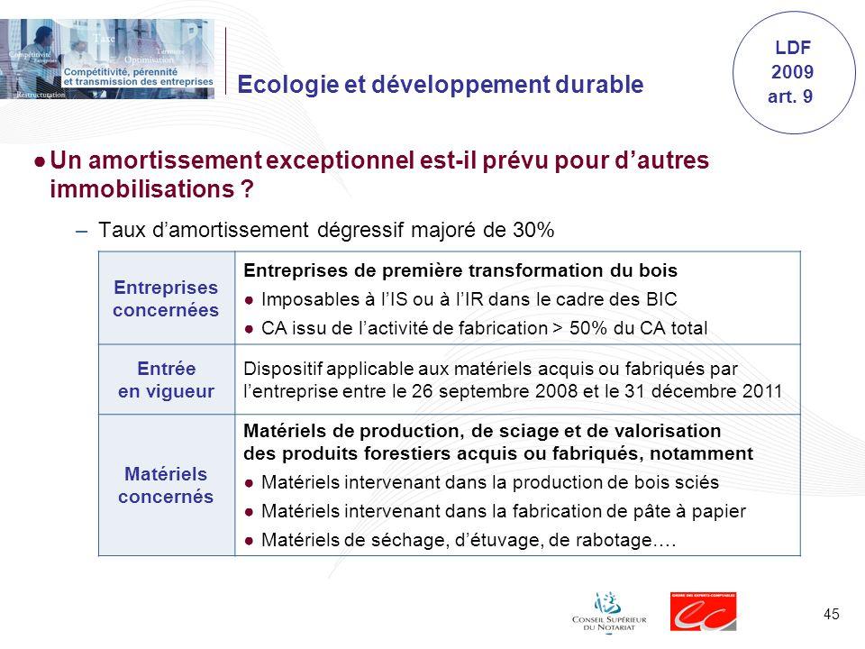 45 Ecologie et développement durable Un amortissement exceptionnel est-il prévu pour dautres immobilisations ? –Taux damortissement dégressif majoré d