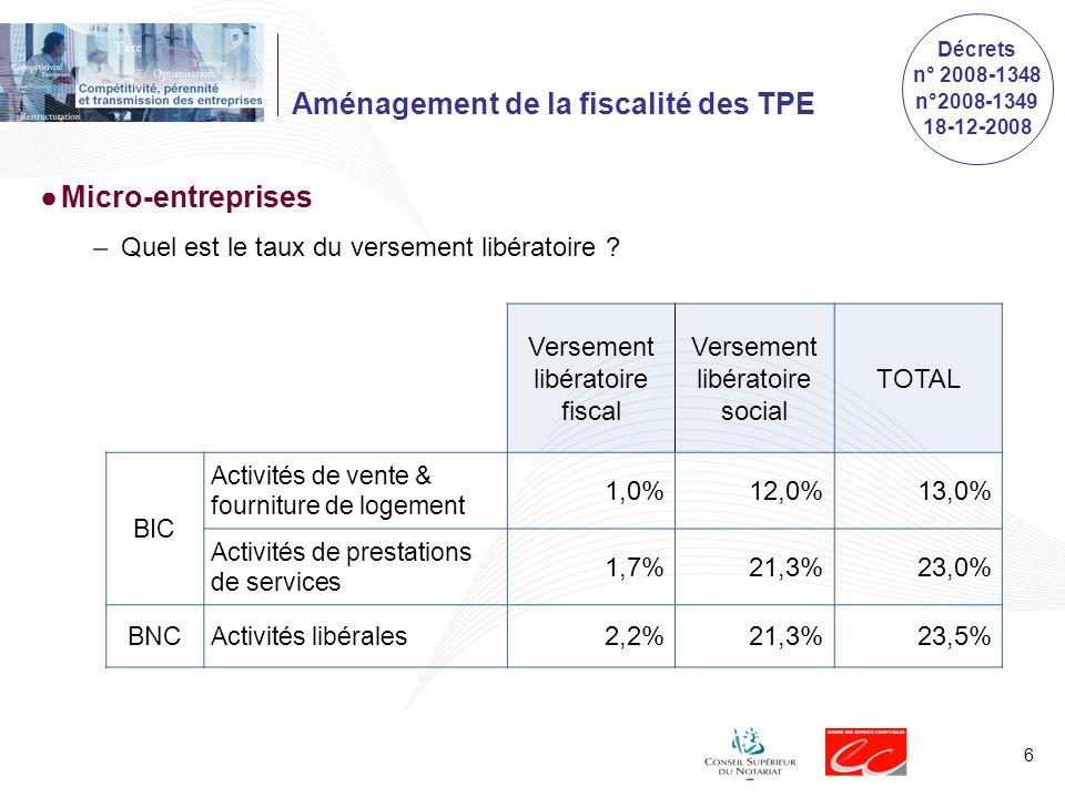6 Versement libératoire fiscal Versement libératoire social TOTAL BIC Activités de vente & fourniture de logement 1,0%12,0%13,0% Activités de prestations de services 1,7%21,3%23,0% BNCActivités libérales 2,2%21,3%23,5% Décrets n° 2008-1348 n°2008-1349 18-12-2008 Aménagement de la fiscalité des TPE Micro-entreprises –Quel est le taux du versement libératoire ?