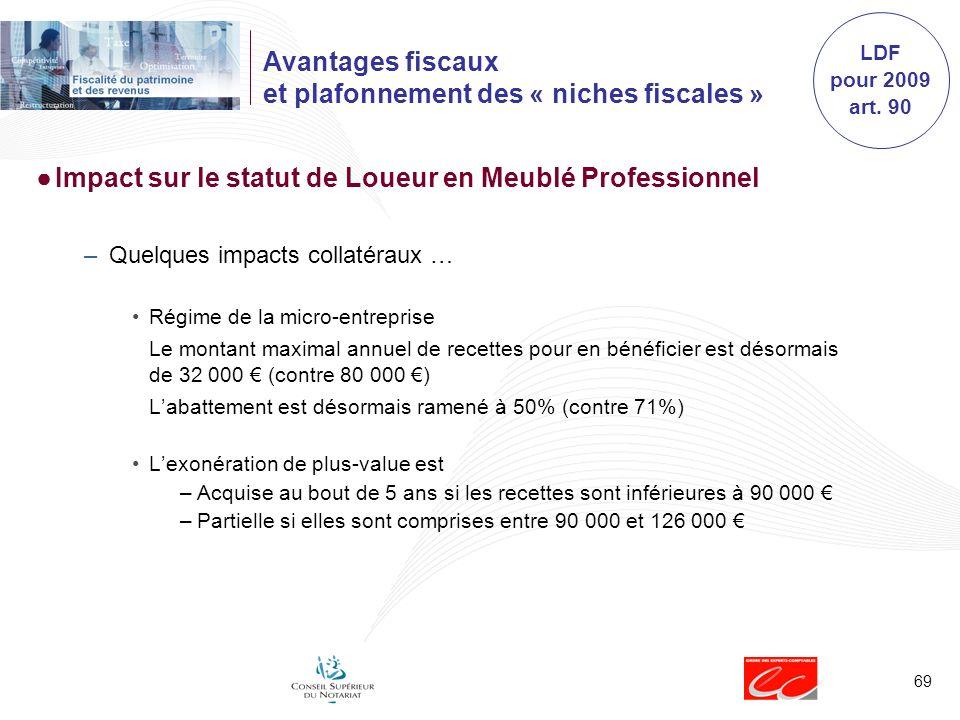 69 Avantages fiscaux et plafonnement des « niches fiscales » Impact sur le statut de Loueur en Meublé Professionnel –Quelques impacts collatéraux … Ré