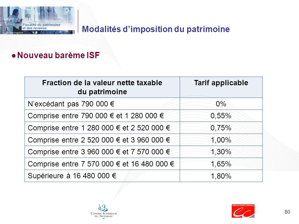80 Modalités dimposition du patrimoine Nouveau barème ISF Fraction de la valeur nette taxable du patrimoine Tarif applicable Nexcédant pas 790 000 0%