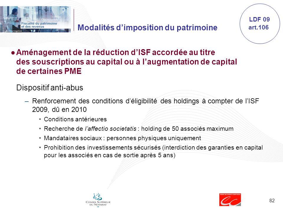 82 Modalités dimposition du patrimoine Aménagement de la réduction dISF accordée au titre des souscriptions au capital ou à laugmentation de capital d
