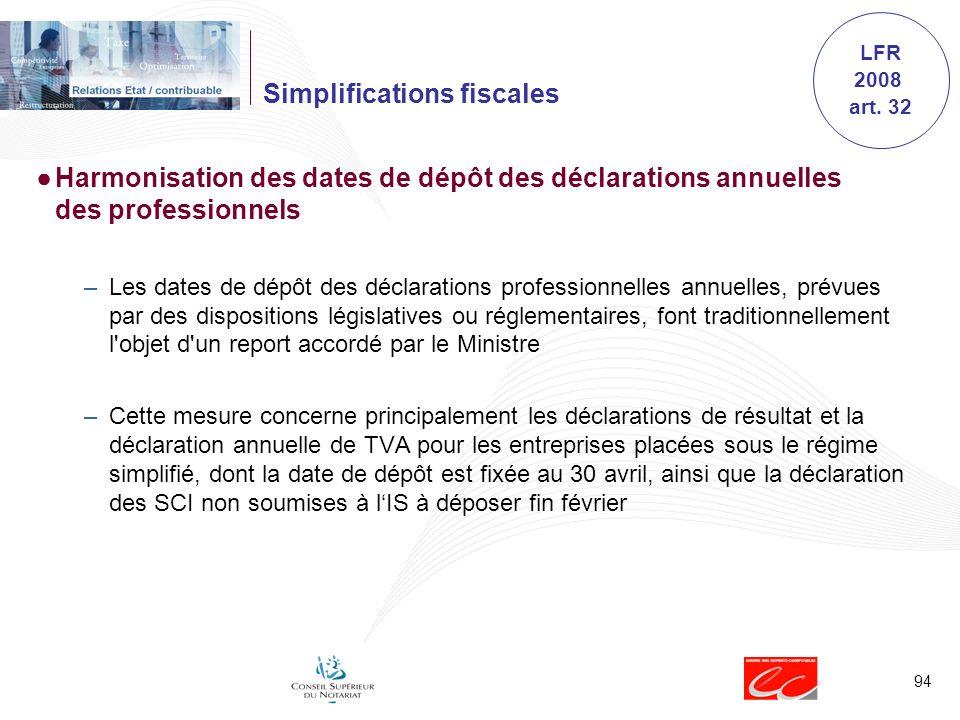 94 Simplifications fiscales Harmonisation des dates de dépôt des déclarations annuelles des professionnels –Les dates de dépôt des déclarations profes