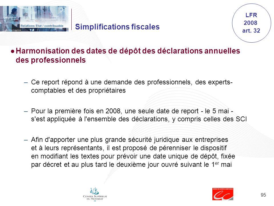 95 Simplifications fiscales Harmonisation des dates de dépôt des déclarations annuelles des professionnels –Ce report répond à une demande des profess