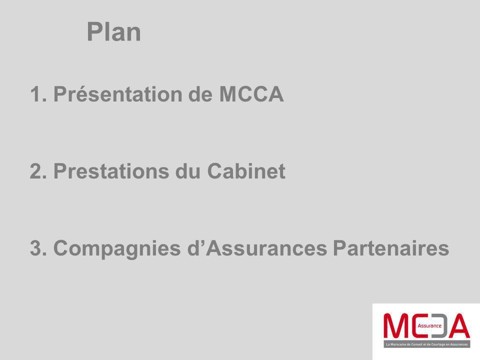 1. Présentation de MCCA 2. Prestations du Cabinet 3. Compagnies dAssurances Partenaires Plan