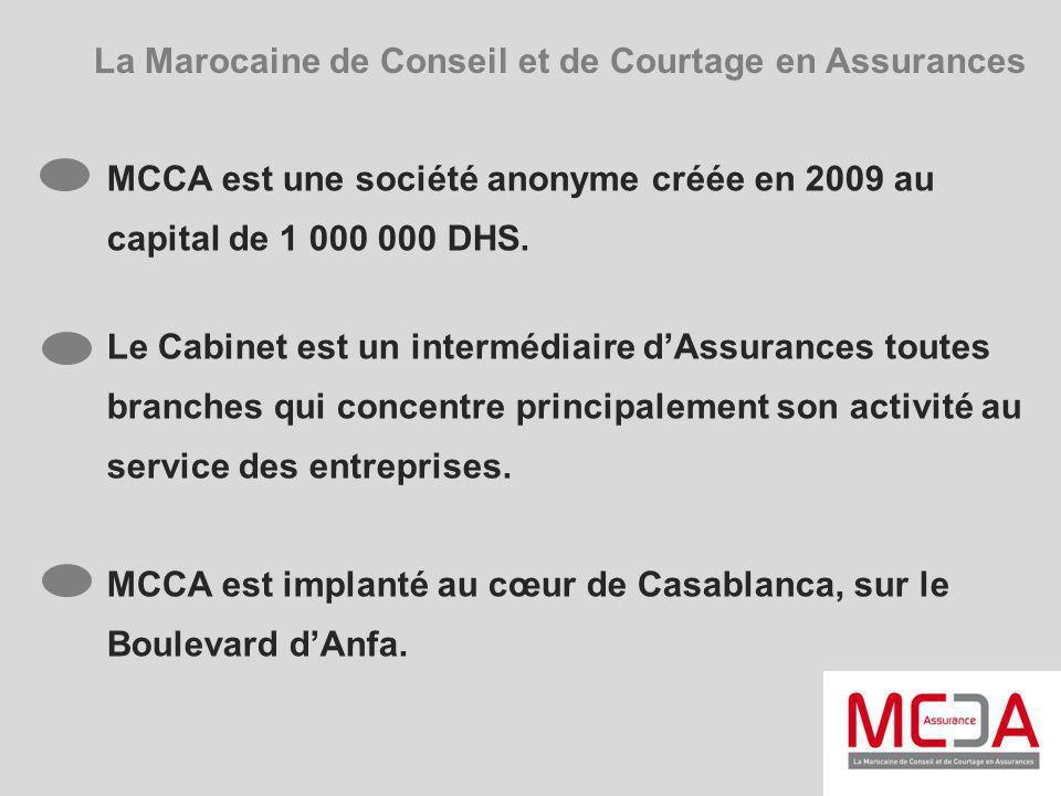 La Marocaine de Conseil et de Courtage en Assurances MCCA est une société anonyme créée en 2009 au capital de 1 000 000 DHS. Le Cabinet est un intermé