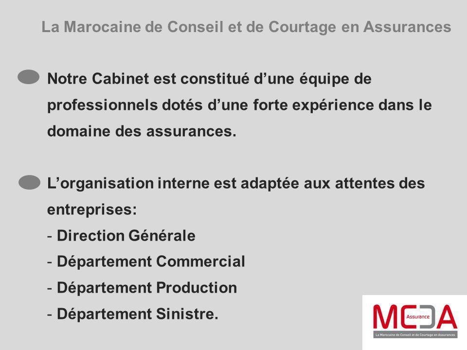 La Marocaine de Conseil et de Courtage en Assurances Notre Cabinet est constitué dune équipe de professionnels dotés dune forte expérience dans le dom