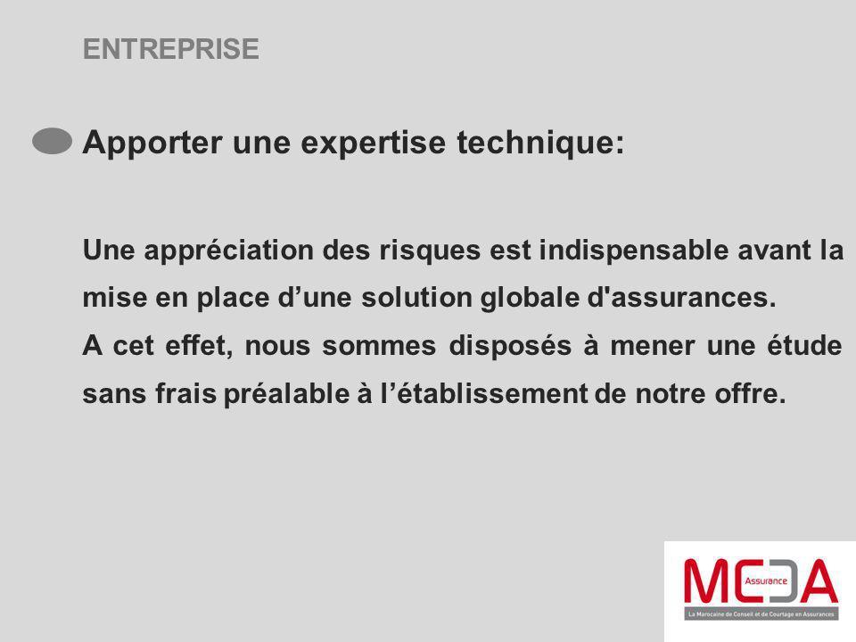 ENTREPRISE Apporter une expertise technique: Une appréciation des risques est indispensable avant la mise en place dune solution globale d'assurances.
