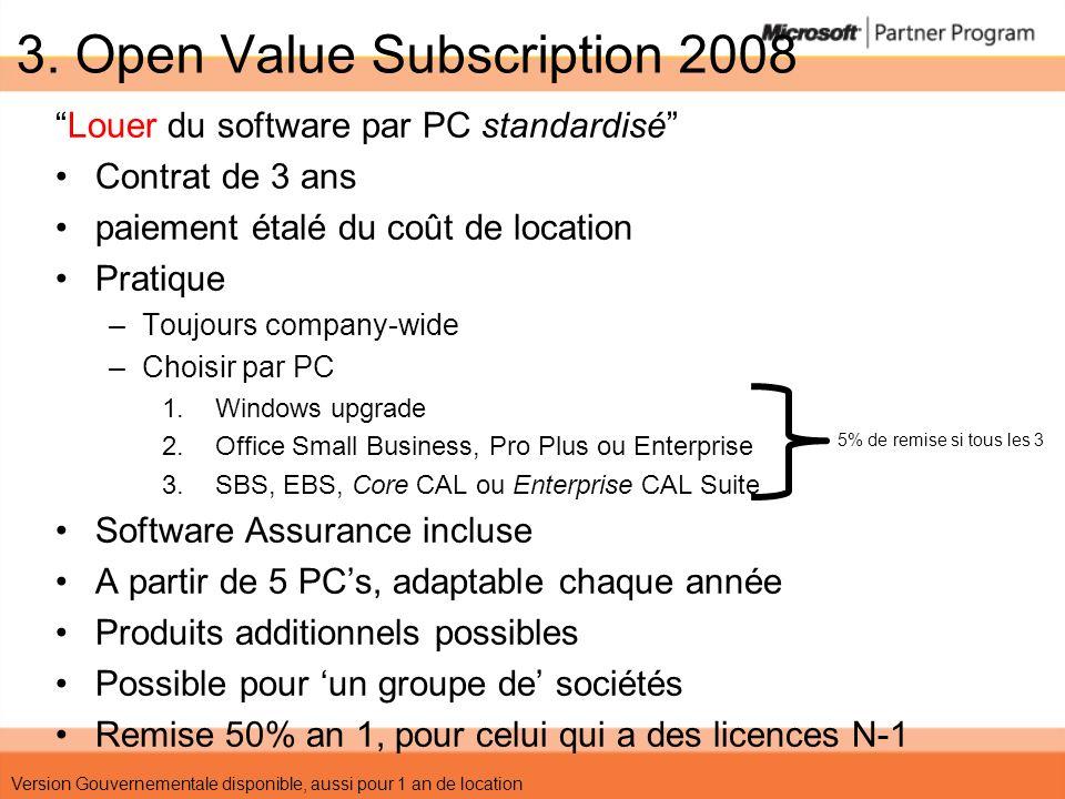 3. Open Value Subscription 2008 Louer du software par PC standardisé Contrat de 3 ans paiement étalé du coût de location Pratique –Toujours company-wi