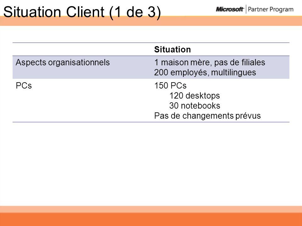 Situation Client (1 de 3) Situation Aspects organisationnels1 maison mère, pas de filiales 200 employés, multilingues PCs150 PCs 120 desktops 30 noteb
