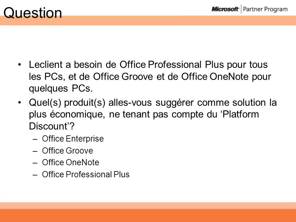Question Leclient a besoin de Office Professional Plus pour tous les PCs, et de Office Groove et de Office OneNote pour quelques PCs. Quel(s) produit(