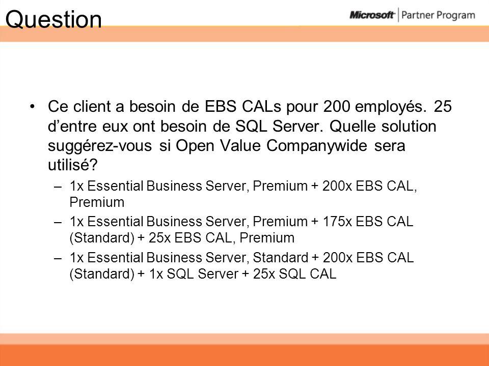 Question Ce client a besoin de EBS CALs pour 200 employés. 25 dentre eux ont besoin de SQL Server. Quelle solution suggérez-vous si Open Value Company