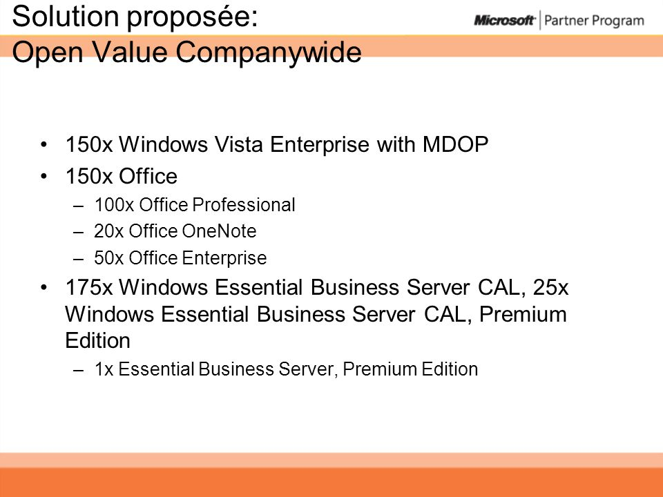 Solution proposée: Open Value Companywide 150x Windows Vista Enterprise with MDOP 150x Office –100x Office Professional –20x Office OneNote –50x Office Enterprise 175x Windows Essential Business Server CAL, 25x Windows Essential Business Server CAL, Premium Edition –1x Essential Business Server, Premium Edition