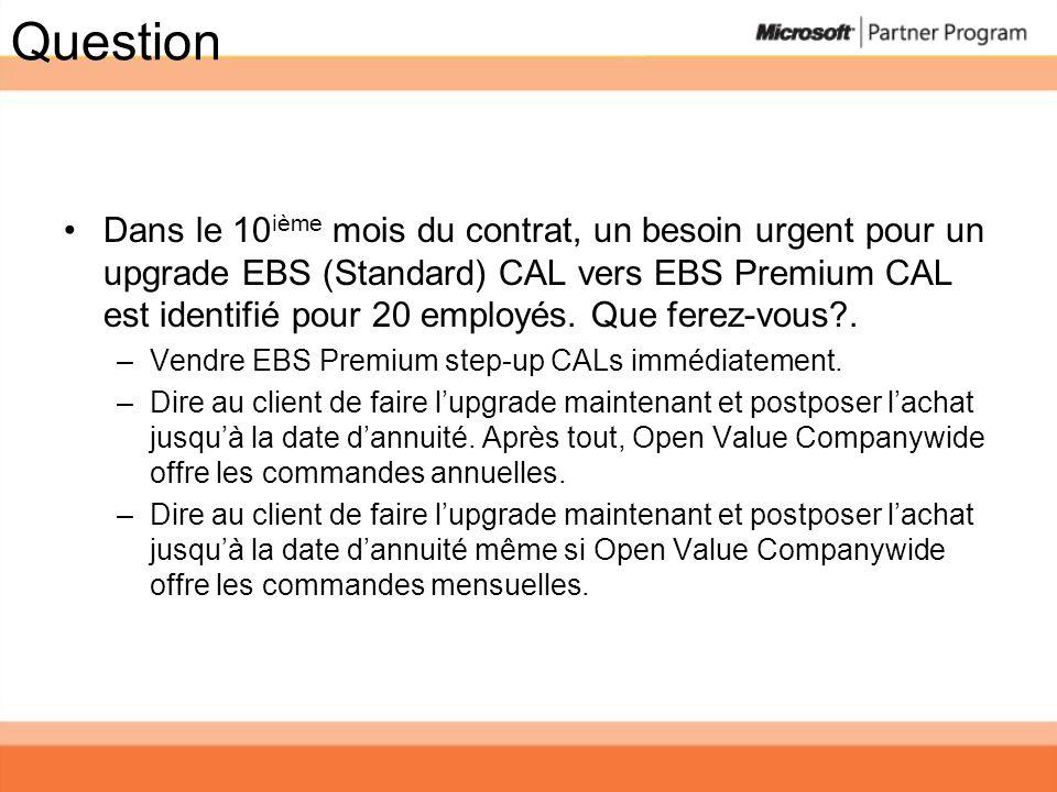 Question Dans le 10 ième mois du contrat, un besoin urgent pour un upgrade EBS (Standard) CAL vers EBS Premium CAL est identifié pour 20 employés. Que