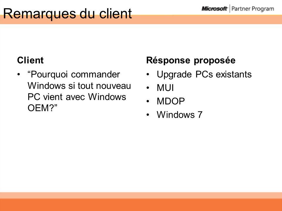 Remarques du client Client Pourquoi commander Windows si tout nouveau PC vient avec Windows OEM? Résponse proposée Upgrade PCs existants MUI MDOP Wind