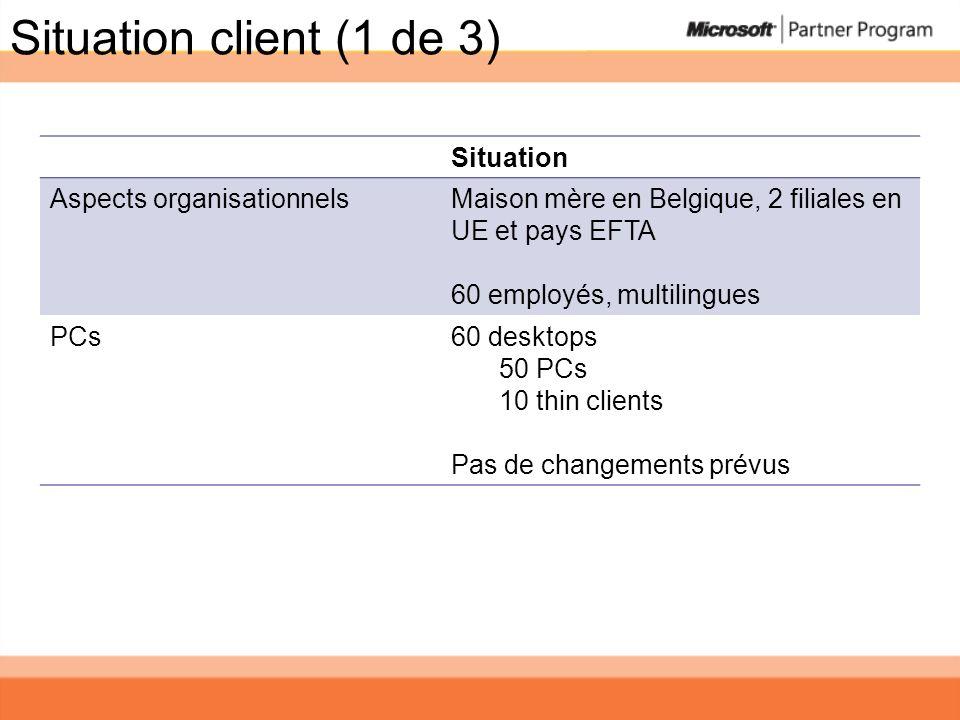 Situation client (1 de 3) Situation Aspects organisationnelsMaison mère en Belgique, 2 filiales en UE et pays EFTA 60 employés, multilingues PCs60 des