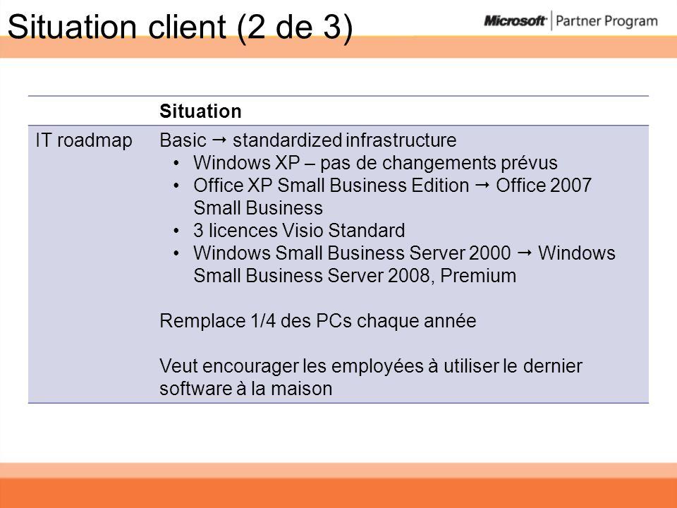 Situation client (2 de 3) Situation IT roadmap Basic standardized infrastructure Windows XP – pas de changements prévus Office XP Small Business Editi