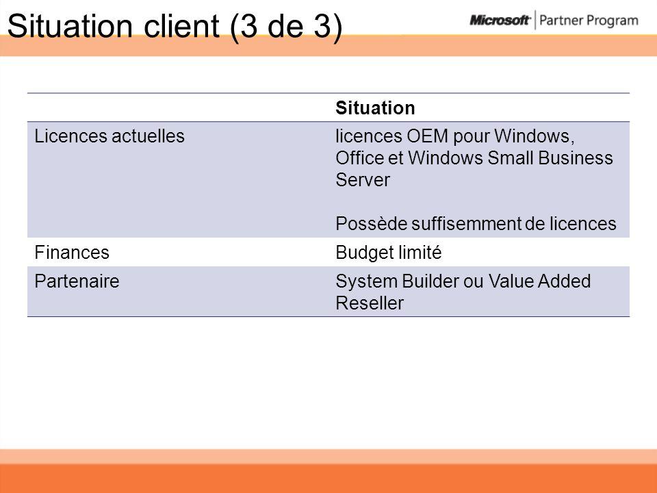 Situation client (3 de 3) Situation Licences actuelleslicences OEM pour Windows, Office et Windows Small Business Server Possède suffisemment de licen
