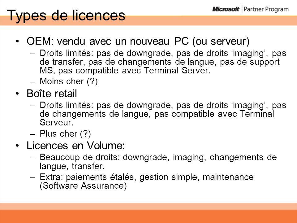 Types de licences OEM: vendu avec un nouveau PC (ou serveur) –Droits limités: pas de downgrade, pas de droits imaging, pas de transfer, pas de changements de langue, pas de support MS, pas compatible avec Terminal Server.